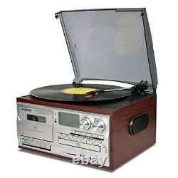 Vinyl Record Player 9 in 1 3 Speed Bluetooth Vintage Turntable CD Cassette