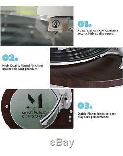 Vinyl Record Player Turntable Bluetooth Speaker Modern Design Home Gift LED