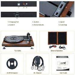 Vinyl Record Player Turntable Stereo Speakers Turntable Bluetooth belt-driven US
