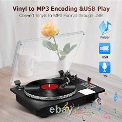Vinyl Record Player Turntable with Bluetooth Input Output, LP Player with USB to
