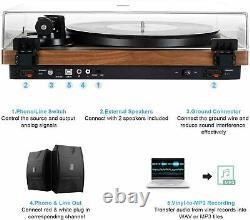 Vinyl Record Player Wireless Bluetooth Turntable HiFi System Magnetic Cartridge