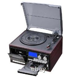 Vinyl Record Player Wireless Turntable AM/FM CD Cassette with 2 Stereo Speakers