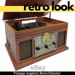 Vinyl Turntable Record Player AM FM Radio CD Bluetooth Vintage Retro Music USB