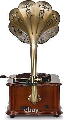 Vinyl Turntable Record Player Vintage Stereo Speaker Bluetooth USB AUX 33/45 RPM