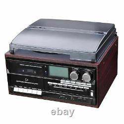 Wireless Stereo Record Player System With Speakers Turntable AM/FM CD Cassette US