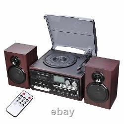 Wireless Stereo Record Player System with 2 External Speakers Turntable AM/FM CD