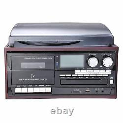 Wireless Stereo Record Player System with Speakers Turntable AM/FM CD Cassette