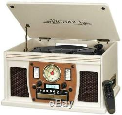 Wooden Record Player Victrola 7-in-1 Bluetooth USB Recording White Play Vinyl