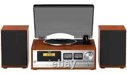 Wooden Retro Classic Stereo System CD Player Record Player FM Radio & Bluetooth
